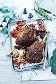 Roast lamb with pomegranate glaze