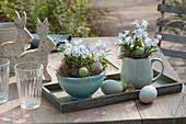 Kleine Oster-Tischdeko mit Blausternchen