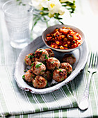 Pork balls with salsa