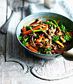 Beef with black bean sauce, broccoli and carrots (Asia)