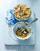 Chicken tarragon pie with peas and mushrooms