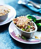Chicken Pot Pie mit Brokkoli und Lauch