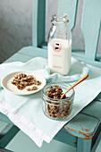 Quinoa and oat granola with milk