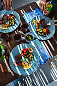 Grilled surf and turf with vegetables