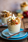 White chocolate mousse with apple and streusel