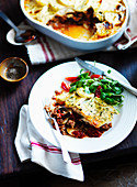Moussaka with minced lamb and a potato topping