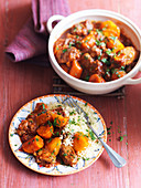Lamb tagine with carrots served with couscous