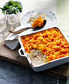 Fish pie with prawns, white wine and a sweet potato crust