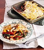 Mediterranean pasta bake with vegetables