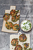 Spinach and buckwheat fritters