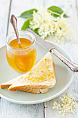 Elderflower jelly on toast for breakfast