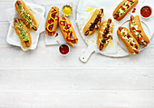 Hotdogs with coleslaw, Hotdogs with cheese and onion, American Hotdogs, Mexican Hotdogs