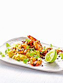 Coriander prawns with sweet corn and coconut mash