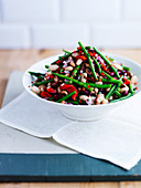A mixed bean salad with chillies