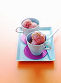 Strawberry sorbet in cups