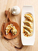 Gyozas (stuffed Japanese dumplings) with soya sauce