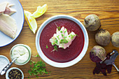 Beetroot soup with smoked trout and creamy horseradish