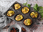 Pesto muffins in a muffin tin (low carb)