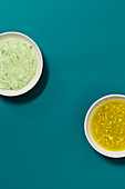 Green Goddess dressing and a honey-mustard vinaigrette