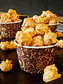 Golden popcorn for Christmas or New Year's Eve