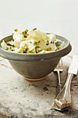 A bowl of celeriac salad