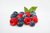 Fresh raspberries and blueberries with a leaf