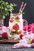 Summer strawberry Mojito cocktail