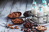 Vegane Milch aus Nüssen und Mandeln in Glasflaschen