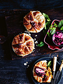 Pumpkin b'stilla with beetroot, ginger and yoghurt sauce