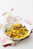 Trenette Noodles with Mushrooms, Pumpkin Cream and Pine Nuts