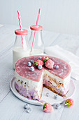 Frozen yogurt iced cake with berries