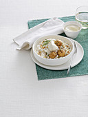 Risotto with cream cheese, walnuts and chestnuts