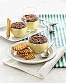 Coconut Cream with Chocolate and Shortcakes