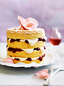 Rosewater Sponge with Strawberry Compote