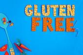 'Gluten Free' auf blauem Untergrund (Glutenfreie Ernährung für Kinder)