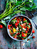 Stir-fried Pumpkin, Water Spinach and Tomatoes with Five-Spice