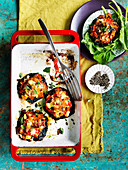 Pumpkin, Capsicum and Feta Stuffed Mushrooms