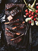 Marinated beef ribs with roast vegetables