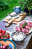 Raw beef loin steaks with ingredients in a garden kitchen