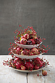 Pomegranates and rose hips arranged on cake stand