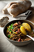Stewed Lentils with Orange