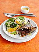 Smoked Mackerel with orange, spinach and fennel salad