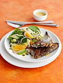 Geräucherte Makrele mit Orangen-Spinat-Fenchelsalat
