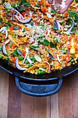 Grilled vegan paella