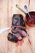 Grilled and marinated entrecote with BBQ whiskey sauce
