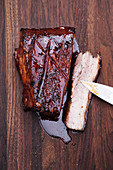 Grilled crispy pork belly with a plum wine glaze