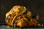 Whole head of cauliflower roasted with thyme