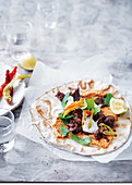 Spiced lamb wraps with roast Capsicum hummus
