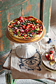 Custard Crostata with pistachios and fresh berries
