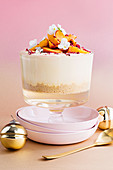 White chocolate and peach trifle